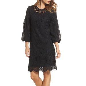 KOBI HALPERIN Kandace Lace Shift Black Dress sz L